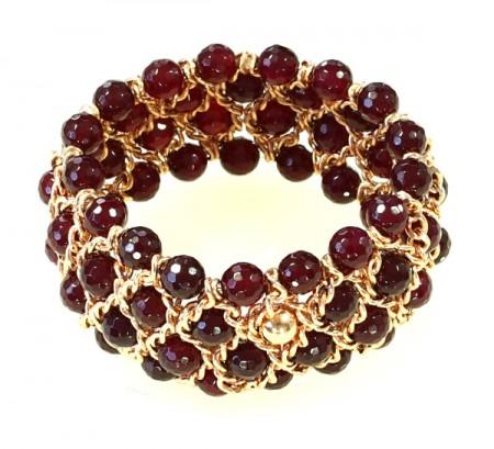 Damenarmband, 4 Reihen facettierte Rubin-Achat Perlen, Breite 35mm