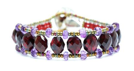 Damen Armband mit Granat und Amethyst