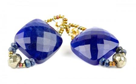 Ohrringe mit Lapis und Pyrit