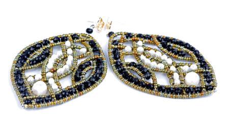 Ohrringe, Ohr Hänger in Silber, mit schwarzen Turmalinen und Perlen