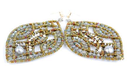 Ohrringe, Ohrstecker mit Labradorit, Silber und Perlen