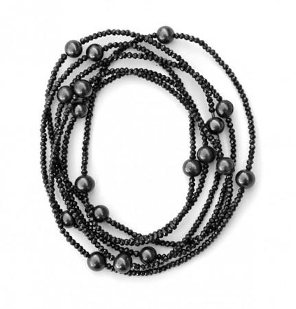 Spinell-Kette mit schwarzen Zuchtperlen. 180cm endlos gefädelt