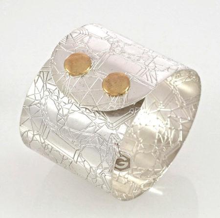 """Armband der Serie """"Atelier"""" in Sterling Silber, Breite: 45 mm Spezialschliesse. Click Button System"""