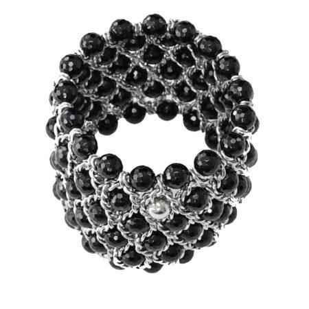 Armband mit facettierten Onyxperlen, Breite: 50mm, 6 reihig