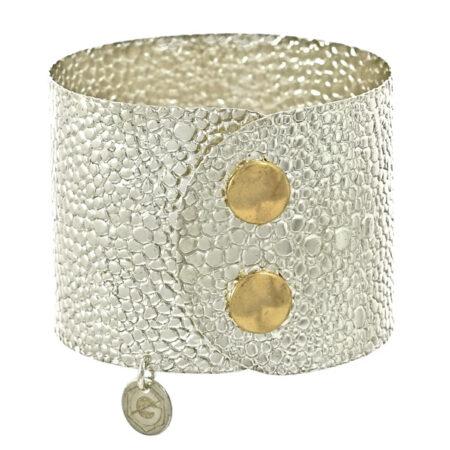"""Armband """"Atelier"""" Reptil Look in Sterling Silber 925/000 mit Druckknopf Verschluss. Breite: 45 mm"""