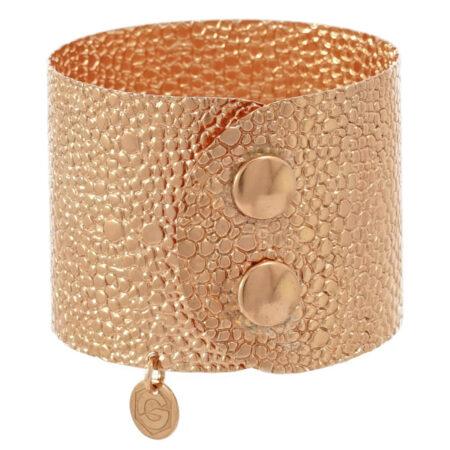 Armspange Atelier Echse in Sterling Silber 925/000 rosé vergoldet, mit Druckknopf Schließe. Breite: 45 mm