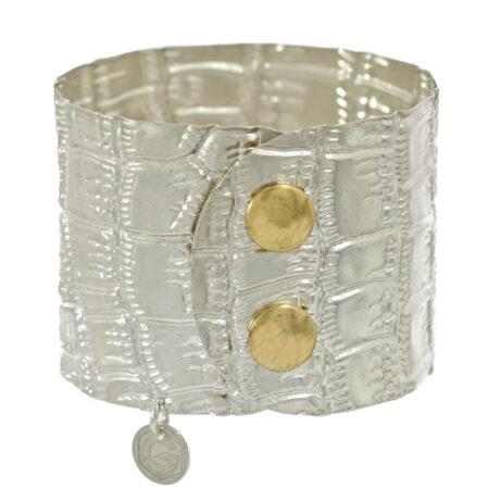 Armband Atelier Kroko in Sterling Silber 925/000 mit Druckknopf Verschluss. Breite: 45 mm