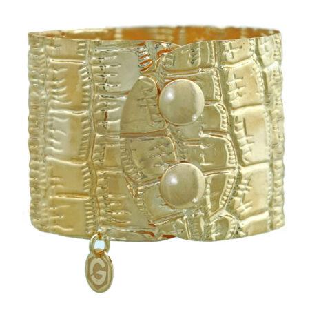 Manschettenarmband Damen Armspange in Gelbgold mit Kroko Prägung