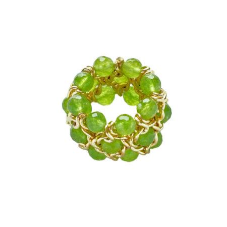 Ring mit facettierten Jadeperlen, 3 reihig, Breite: 20mm, Gelbgold