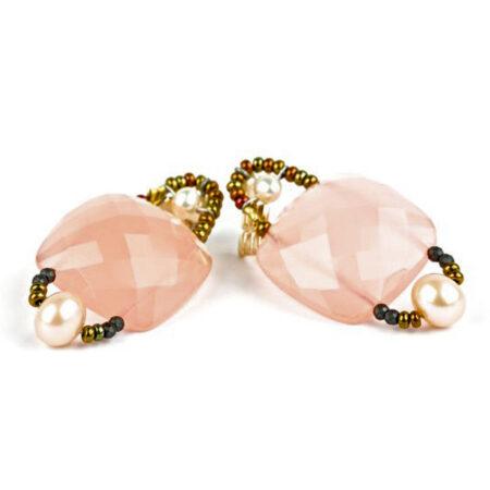 Ohrringe mit Pink Chalcedon und echten Perlen