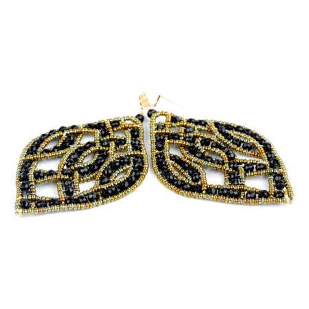 Ohrringe, Ohr Hänger in Silber mit schwarzen Turmalinen