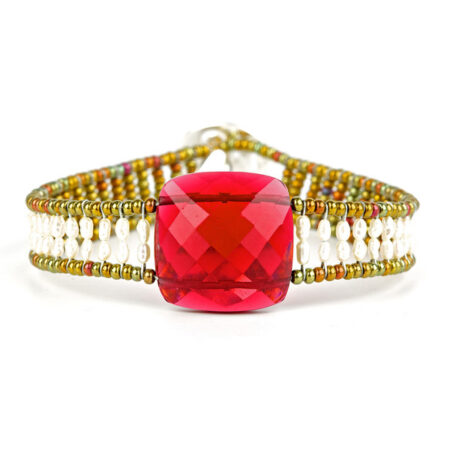 "Armband ""Armonia"" Small, mit Granat und Perlen. Sterling Silber 925/000."
