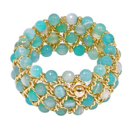 Damen Armband mit Achat Perlen facettiert, Gelbgold