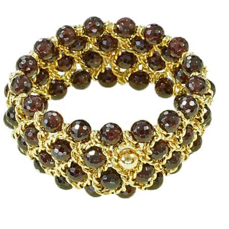Armband mit facettierten Granat Perlen, Gelbgold, Breite 35mm, 4 reihig