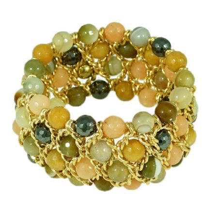 Damen Armband mit echten Steinen in warmen Farben und Gelbgold