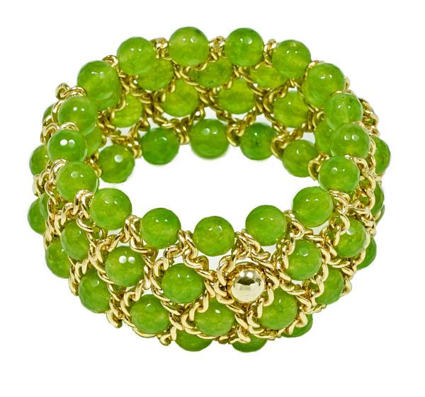 Damen Armband mit facettierter grüner Jade.