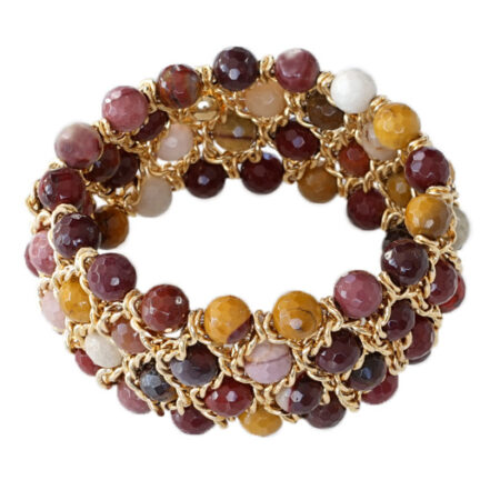 Damen Armband mit Natur Jaspis in schönen Herbstfarben mit Gelbgold