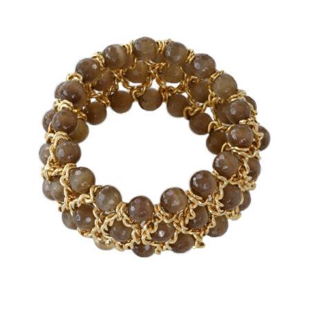 Damen Armband mit facettierten Quarzkugeln in Gelbgold
