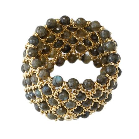 Damen Armband mit facettierten Labradorit Perlen, 6 reihig, Breite: 50mm