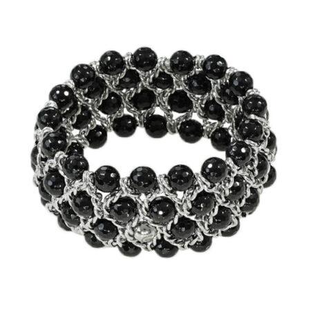 Damen Armband mit facettierten Onyx Perlen in Weissgold