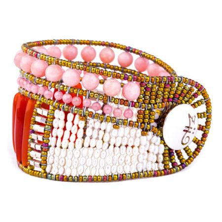 """Armband """"Rock"""" Large Pink, mit Perlen, Karneol, Calcit, Rhodochrosit und Sterling Silber 925/000."""