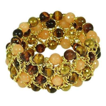 Damen Armband in Natur und Erdfarben mit Gelbgold