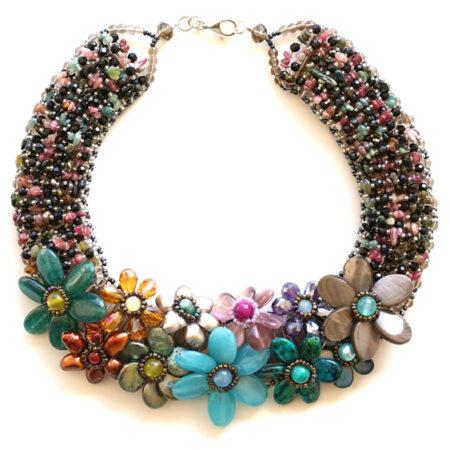 Collier Kette Multicolor mit verschiedenen echten Steinen in Handarbeit gefertigt