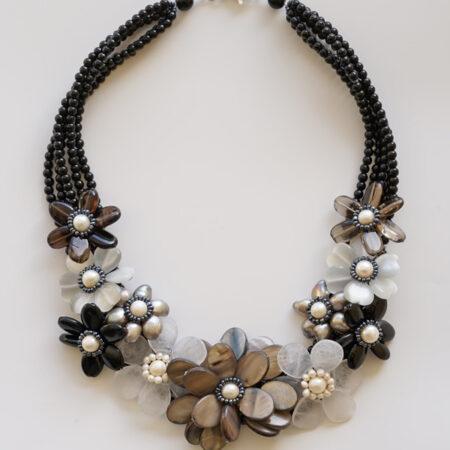 Collier Kette mit Onyx, Achat, Perlen und Perlmutt in braun, grau und weiß