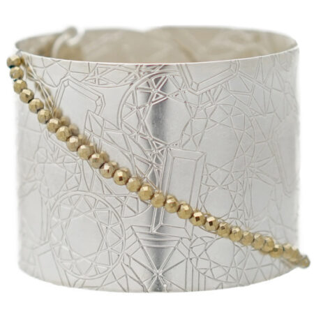 Damen Armspange in Silber mit Edelstein Motiv und Druckknopf Verschluss Click Button System