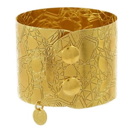 Damen Armband Atelier Cut in Sterling Silber 925/000 vergoldet, mit Druckknopf Verschluss. Breite: 45 mm