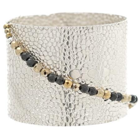Damen Armspange 925 Sterling Silber, facettierte Perlen und Druckknopf Verschluss