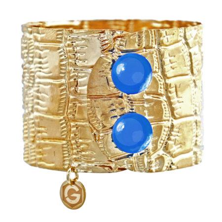 Damen Armband in Gelbgold mit Sicherung in Blau Achat. Krokoprägung