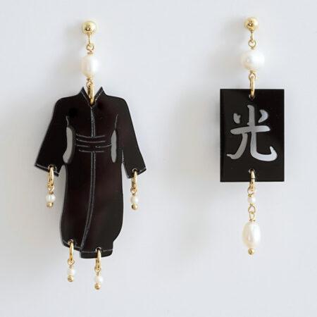 """Ohrringe """"Kimono"""" mit der Kalligraphie (Licht Helligkeit)"""