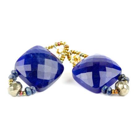 "Ohrringe ""Armonia"" Blu mit Perlen, Lapislazuli, Pyrit, Murano Beads und Sterling Silber 925/000"