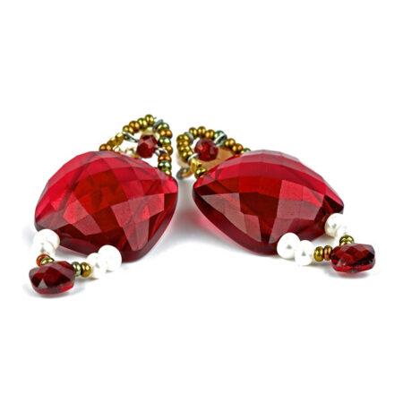 """Ohrringe """"Armonia"""" Garnet mit Perlen, Granat, Murano Beads und Sterling Silber 925/000"""