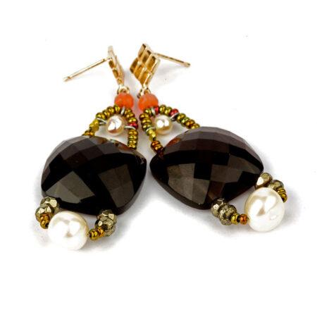 """Ohrringe """"Armonia"""" Grey mit Perlen, Pyrit, Quarz, Korallen, Murano Beads und Sterling Silber"""