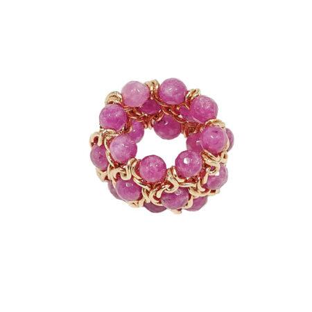 Damen Ring mit Rosa Jade Perlen, Breite: 20mm