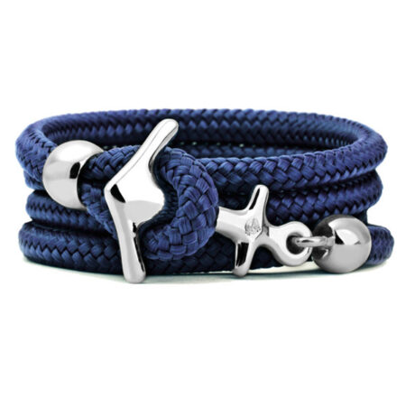 Armband mit Anker in Maui Blue. 925/000